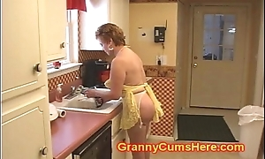 Granny jail-bait drilled in her kitchen by bbc