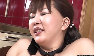 Chubby japanese milf groans while the brush fringy soaked crack is toyed