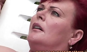 Ginger old granny fingered outdoors