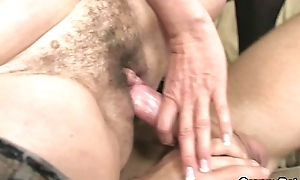 Old doxy rides his large ding-dong