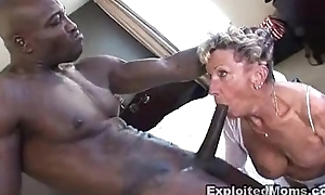 Old granny takes a obese disastrous bushwa concerning the brush nuisance anal interracial movie
