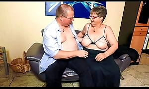 XXX OMAS - Fat mature German granny in nylons fucks darling