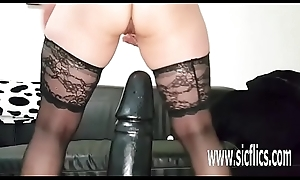 Sarah bonks successfully toys in will not hear of greedy pussy