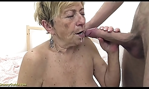 sexy 90 years ancient granny gets verge on fucked
