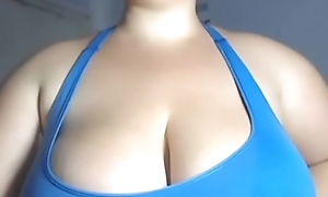 worn out huge chest laddie distance from webcam show inexperienced brest inform of size