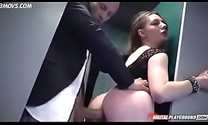 Hard anal fuck big takings in bathroom