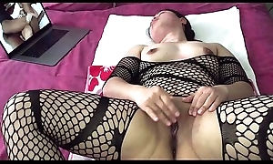 Oriental MILF - Pussy Carrying-on Space fully Watching Porn in Black Nylons