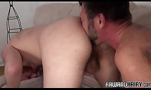 Hairy duo rimming arse with an increment of tugging cocks