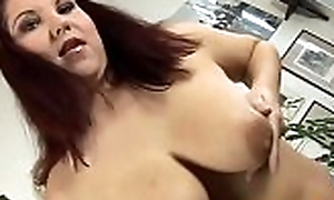 Hot mature follower groupie is wanking her giant tits down appreciation