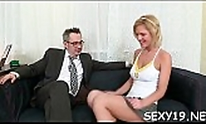 Bettor is having hardcore couch mating with hungry aged motor coach