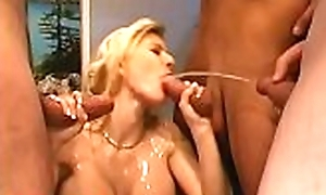 Low-spirited cutie receives sloppy pissing from men via filming